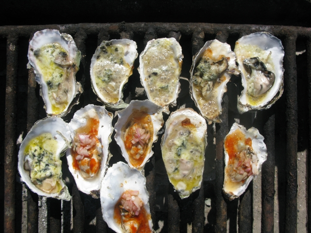 Chipotle-Bourbon & Roquerfort Oysters on the Barbie