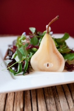Vanilla Poached Pear with Microgreens