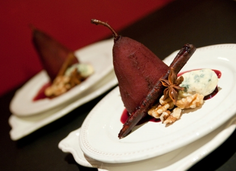 Pinot Noir Cinnamon Poached Pears with Bleu Cheese
