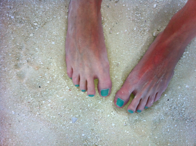I bemoan my sunburned feet!