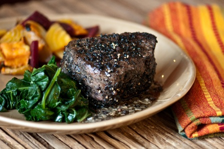 Filet Mignon with Roast Rainbow Beets & Wilted Kale